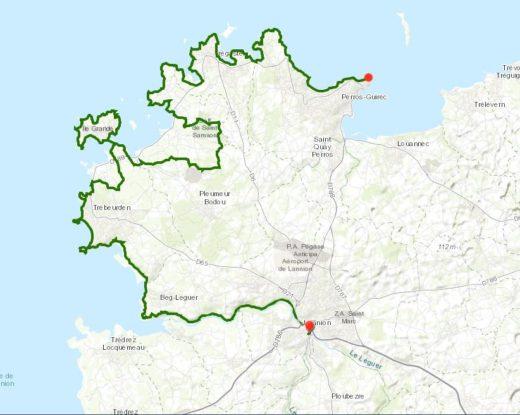 Carte du circuit côte de granit rose